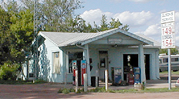 An old gas station that looks like a small house